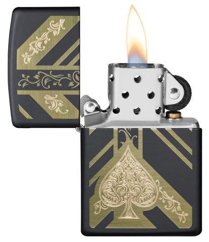 Black Matte Ace of Spades Windproof Lighter with its lid open and lit
