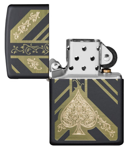 Black Matte Ace of Spades Windproof Lighter with its lid open and unlit