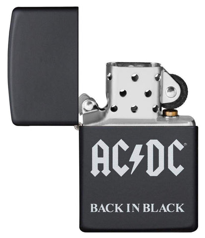 AC/DC® Back In Black windproof lighter with its lid open and unlit