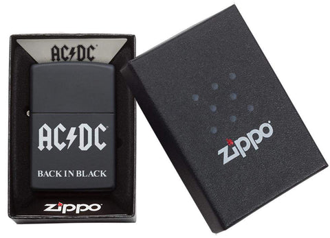AC/DC® Back In Black windproof lighter in its packaging