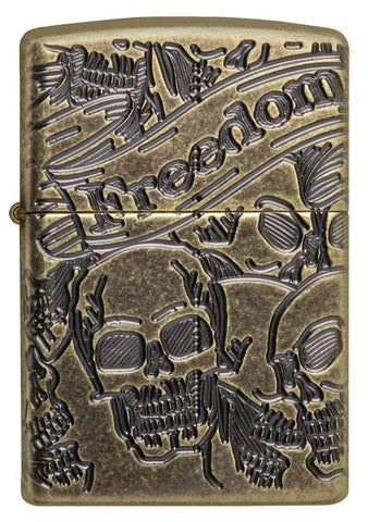 Front view of Armor® Antique Brass Skull Design Windproof Lighter