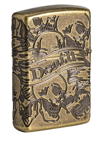 Armor® Antique Brass Skull Design Windproof Lighter standing at a 3/4 back angle