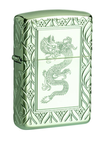 Armor® High Polish Green Elegant Dragon standing at a 3/4 angle