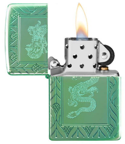 Armor® High Polish Green Elegant Dragon with its lid open and lit