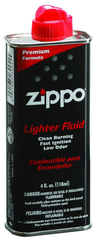 Front of 4 Fluid Ounce Zippo Lighter Fuel standing at a 3/4 angle