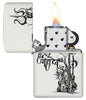 Shiva's Trishul White Matte Pocket Lighter with its lid open and lit