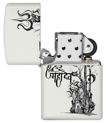 Shiva's Trishul White Matte Pocket Lighter with its lid open and unlit