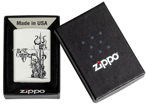 Shiva's Trishul White Matte Pocket Lighter in its packaging