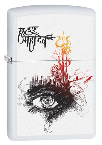 Front of Shiva's Third Eye White Matte Windproof Lighter standing at a 3/4 angle