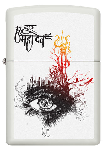 Front of Shiva's Third Eye White Matte Windproof Lighter