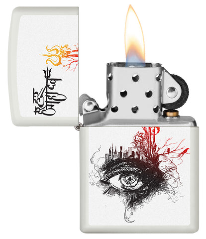 Shiva's Third Eye White Matte Windproof Lighter with its lid open and lit
