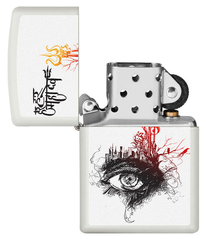 Shiva's Third Eye White Matte Windproof Lighter with its lid open and unlit