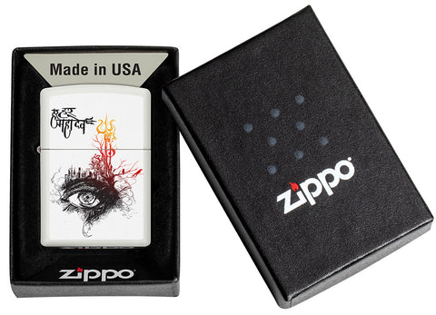 Shiva's Third Eye White Matte Windproof Lighter in its packaging