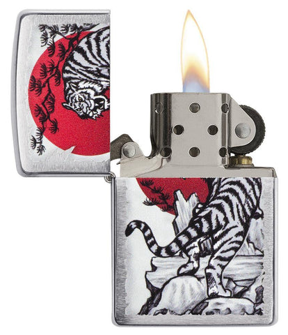 Asian Tiger Brushed Chrome Windproof Lighter with its lid open and lit