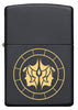 Front of Gemini Zodiac Sign Design Black Matte Windproof Lighter
