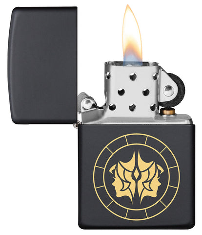 Gemini Zodiac Sign Design Black Matte Windproof Lighter with its lid open and lit