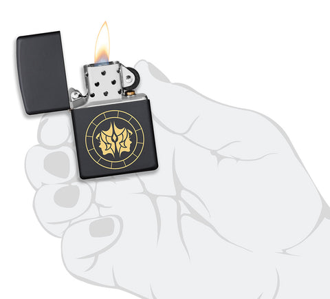 Gemini Zodiac Sign Design Black Matte Windproof Lighter lit in hand