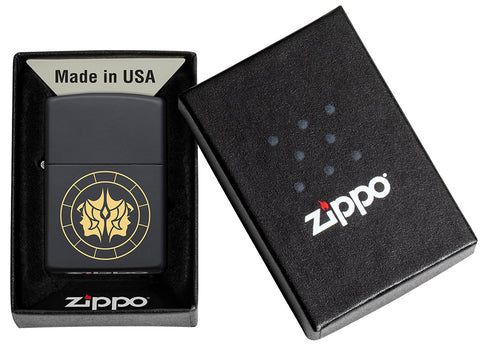 Gemini Zodiac Sign Design Black Matte Windproof Lighter in its packaging