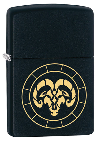 Front shot of Aries Zodiac Sign Design Black Matte Windproof Lighter standing at a 3/4 angle