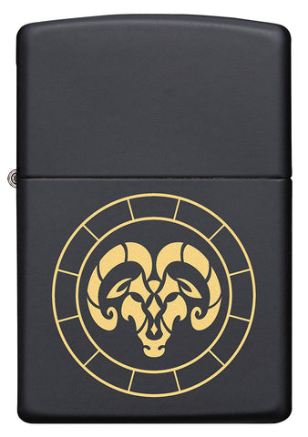 Front of Aries Zodiac Sign Design Black Matte Windproof Lighter
