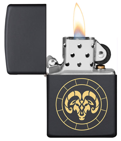 Aries Zodiac Sign Design Black Matte Windproof Lighter with its lid open and lit