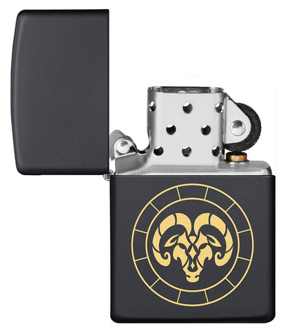 Aries Zodiac Sign Design Black Matte Windproof Lighter with its lid open and unlit