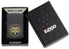 Aries Zodiac Sign Design Black Matte Windproof Lighter in its packaging