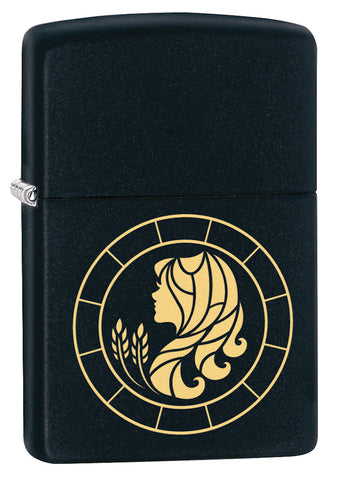 Front shot of Virgo Zodiac Sign Design Black Matte Windproof Lighter standing at a 3/4 angle