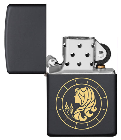 Virgo Zodiac Sign Design Black Matte Windproof Lighter with its lid open and unlit