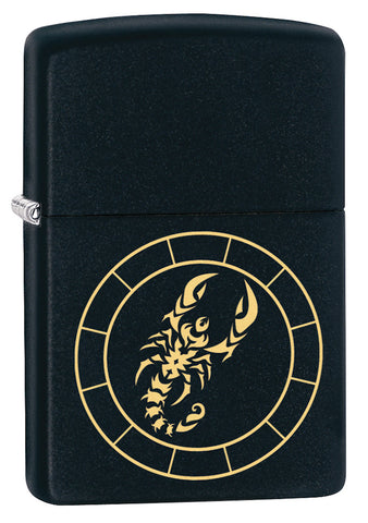 3/4 shot of Scorpio Zodiac Sign Design Black Matte Windproof Lighter