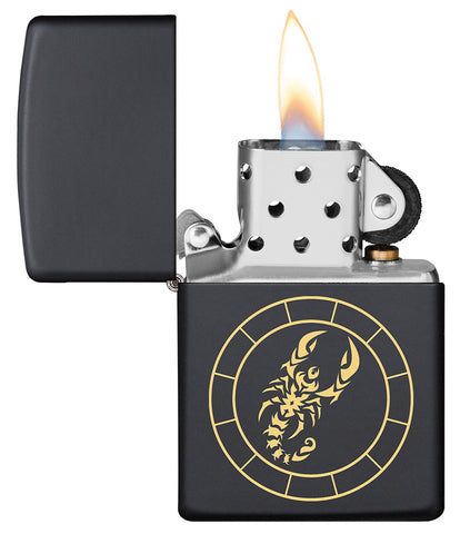 Scorpio Zodiac Sign Design Black Matte Windproof Lighter with its lid open and lit