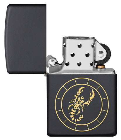 Scorpio Zodiac Sign Design Black Matte Windproof Lighter with its lid open and not lit