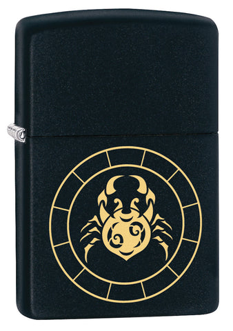 3/4 shot of Cancer Zodiac Sign Design Black Matte Windproof Lighter