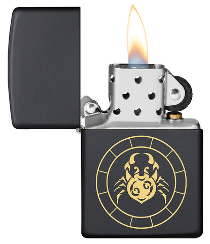 Cancer Zodiac Sign Design Black Matte Windproof Lighter with its lid open and lit