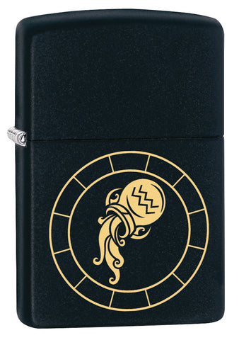 Front shot of Aquarius Zodiac Sign Design Black Matte Windproof Lighter standing at a 3/4 angle