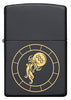 Front of Aquarius Zodiac Sign Design Black Matte Windproof Lighter