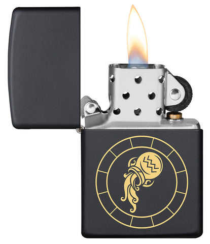 Aquarius Zodiac Sign Design Black Matte Windproof Lighter with its lid open and lit
