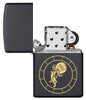 Aquarius Zodiac Sign Design Black Matte Windproof Lighter with its lid open and unlit