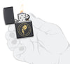 Aquarius Zodiac Sign Design Black Matte Windproof Lighter lit in hand
