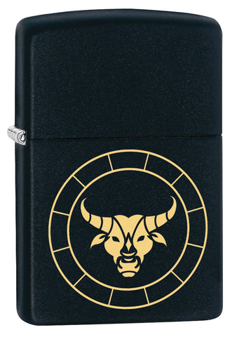 Front shot of Taurus Zodiac Sign Design Black Matte Windproof Lighter standing at a 3/4 angle