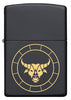 Front of Taurus Zodiac Sign Design Black Matte Windproof Lighter