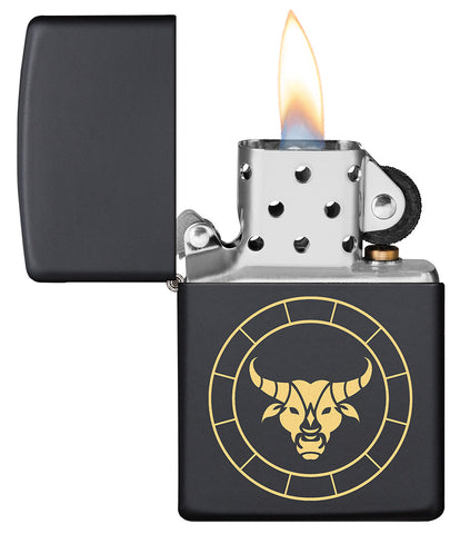 Taurus Zodiac Sign Design Black Matte Windproof Lighter with its lid open and lit