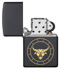 Taurus Zodiac Sign Design Black Matte Windproof Lighter with its lid open and unlit