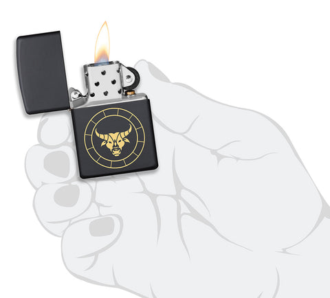 Taurus Zodiac Sign Design Black Matte Windproof Lighter lit in hand