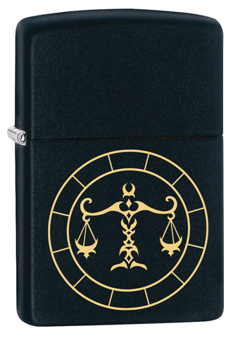 Front shot of Libra Zodiac Sign Design Black Matte Windproof Lighter standing at a 3/4 angle