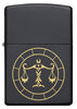 Front of Libra Zodiac Sign Design Black Matte Windproof Lighter