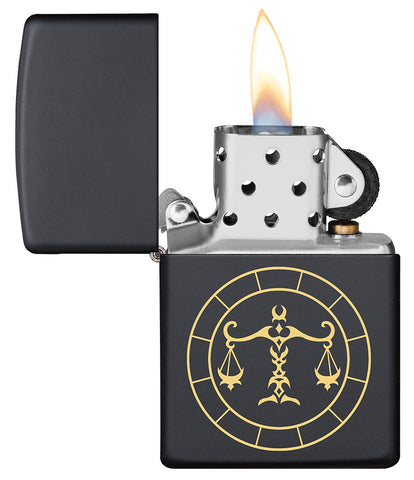 Libra Zodiac Sign Design Black Matte Windproof Lighter with its lid open and lit