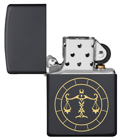 Libra Zodiac Sign Design Black Matte Windproof Lighter with its lid open and unlit