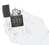 Libra Zodiac Sign Design Black Matte Windproof Lighter lit in hand