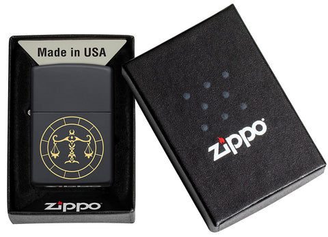 Libra Zodiac Sign Design Black Matte Windproof Lighter in its packaging